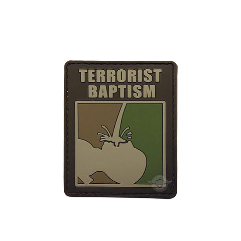Terrorist Baptism PVC Patch with Hook Backing  $6.00