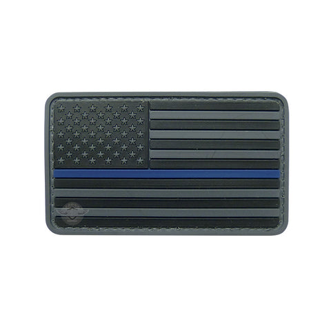 U.S. Flag Black w/ Blue Stripe PVC Patch with Hook Backing $6.00