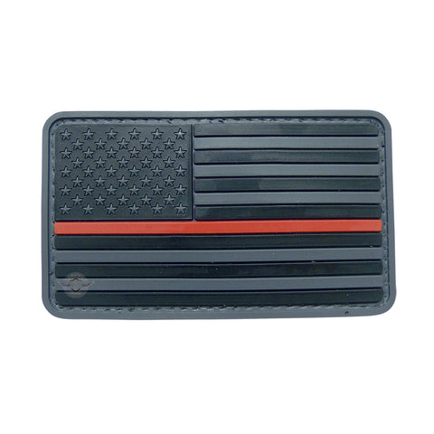 U.S. Flag Black w/Red Stripe PVC Patch with Hook Backing $6.00