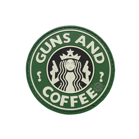 Guns And Coffee PVC Patch with Hook Backing  $6.00