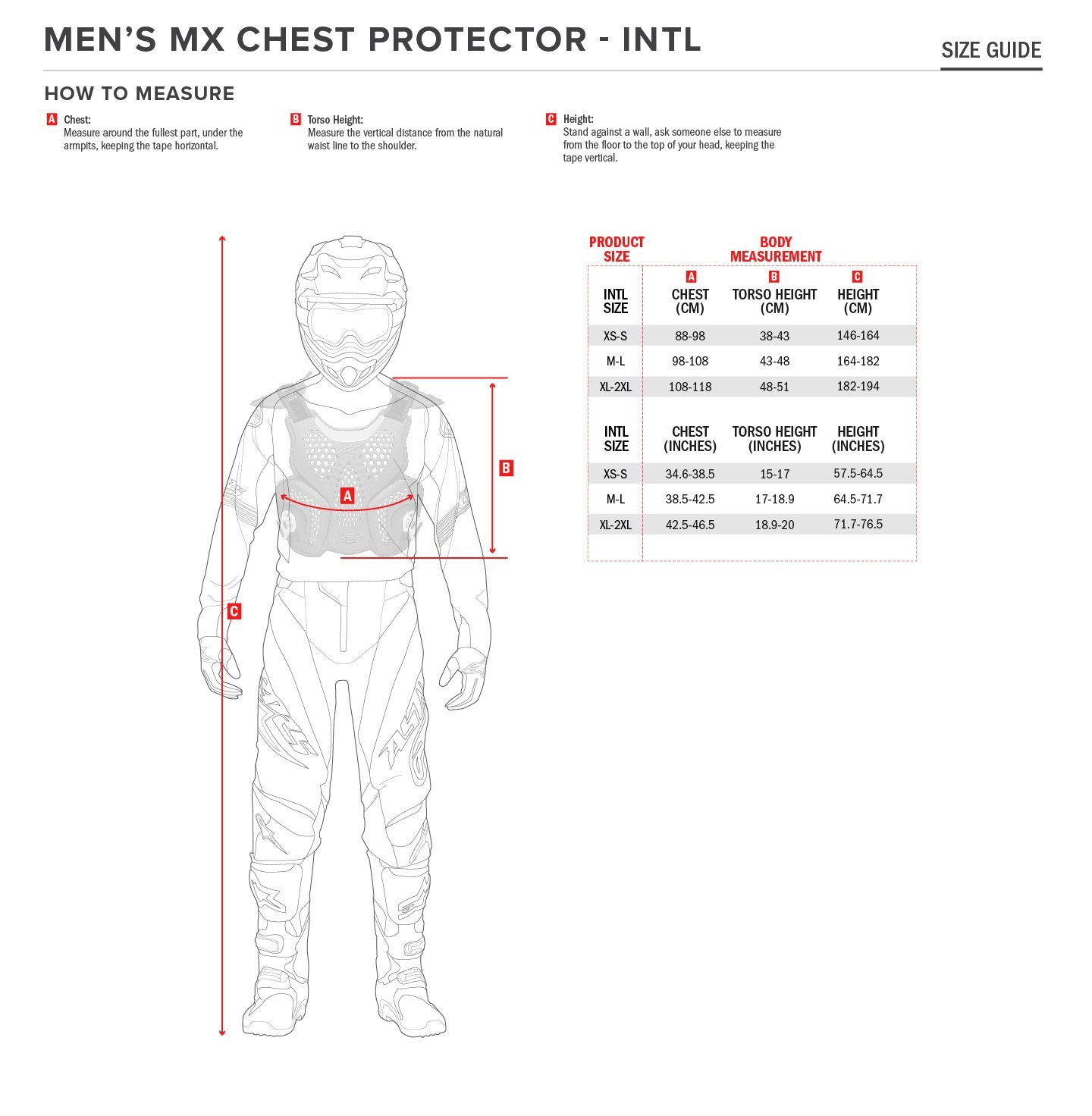 ALPINESTARS CHEST PROTECTOR SIZE CHART