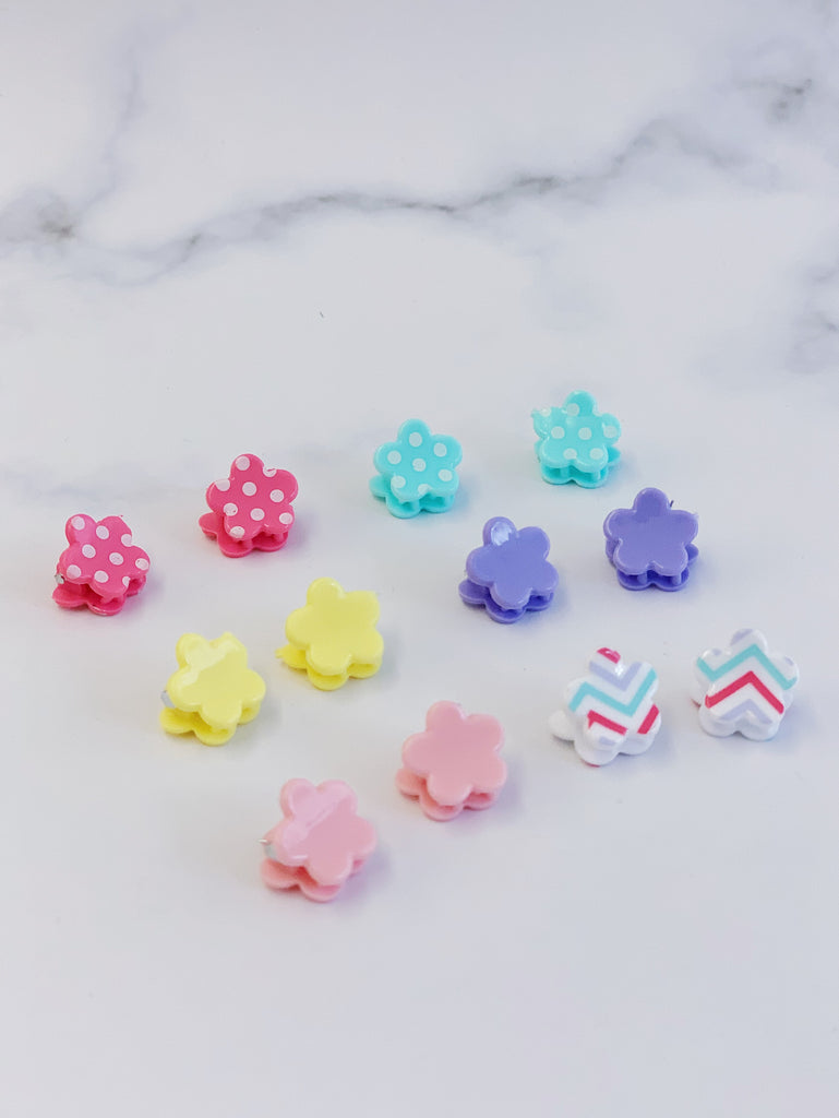 [AHC28] Flower Shape Little Hair Clip Set