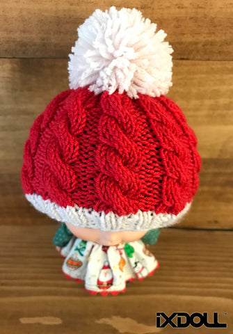[AHT20] Pom Pom Beanie Hat (Poppy Red)