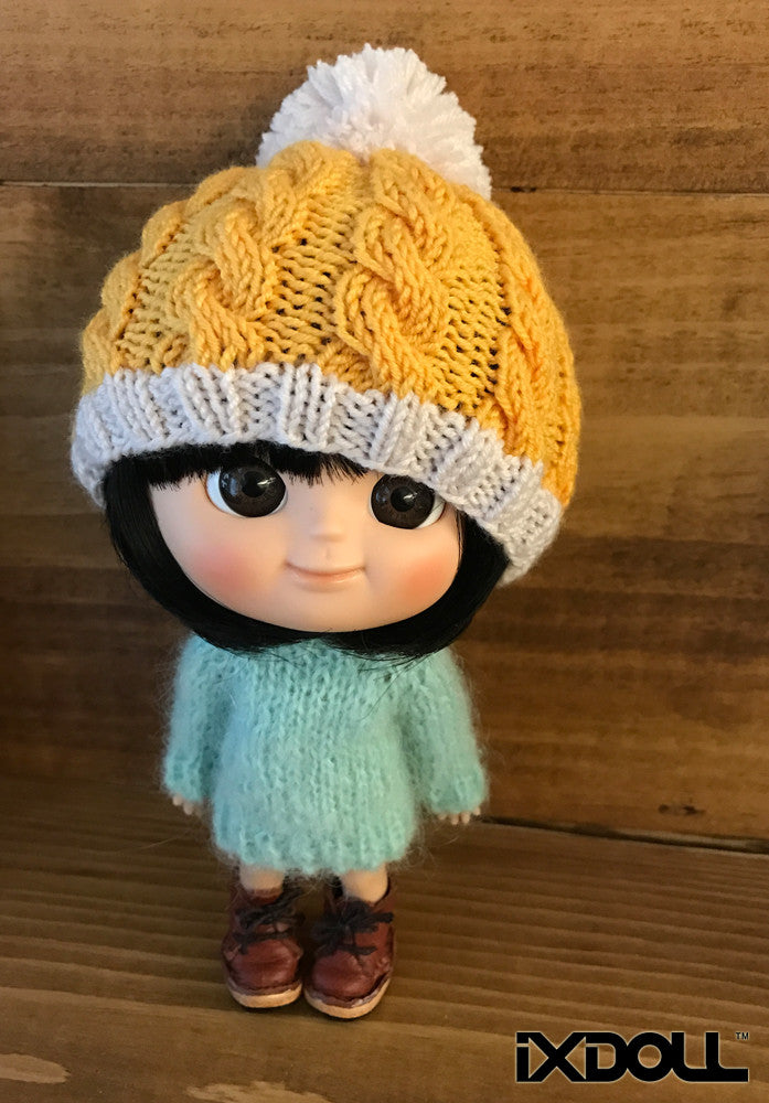 [AHT23] Pom Pom Beanie Hat / Pineapple Yellow