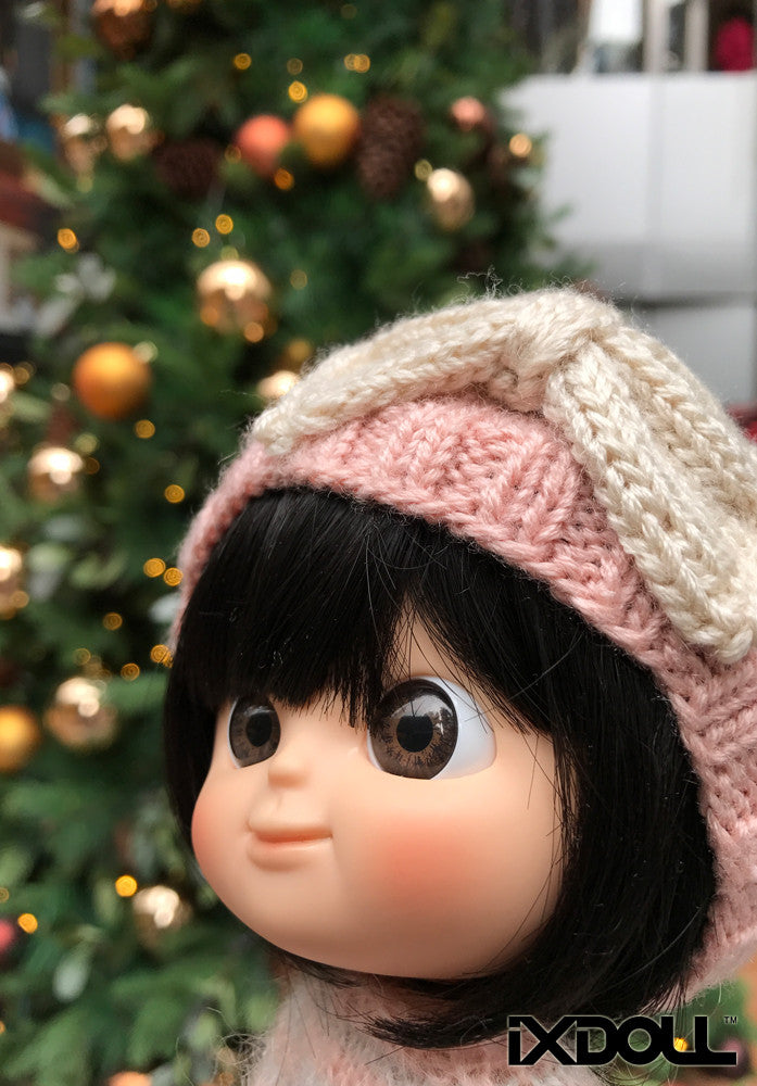 [AHT27] Bow and Ribbon Hat / Dusty Blush