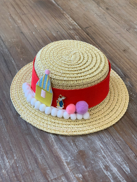 [AHT54] Handmade Straw Hat / Beige (Red Ribbon)