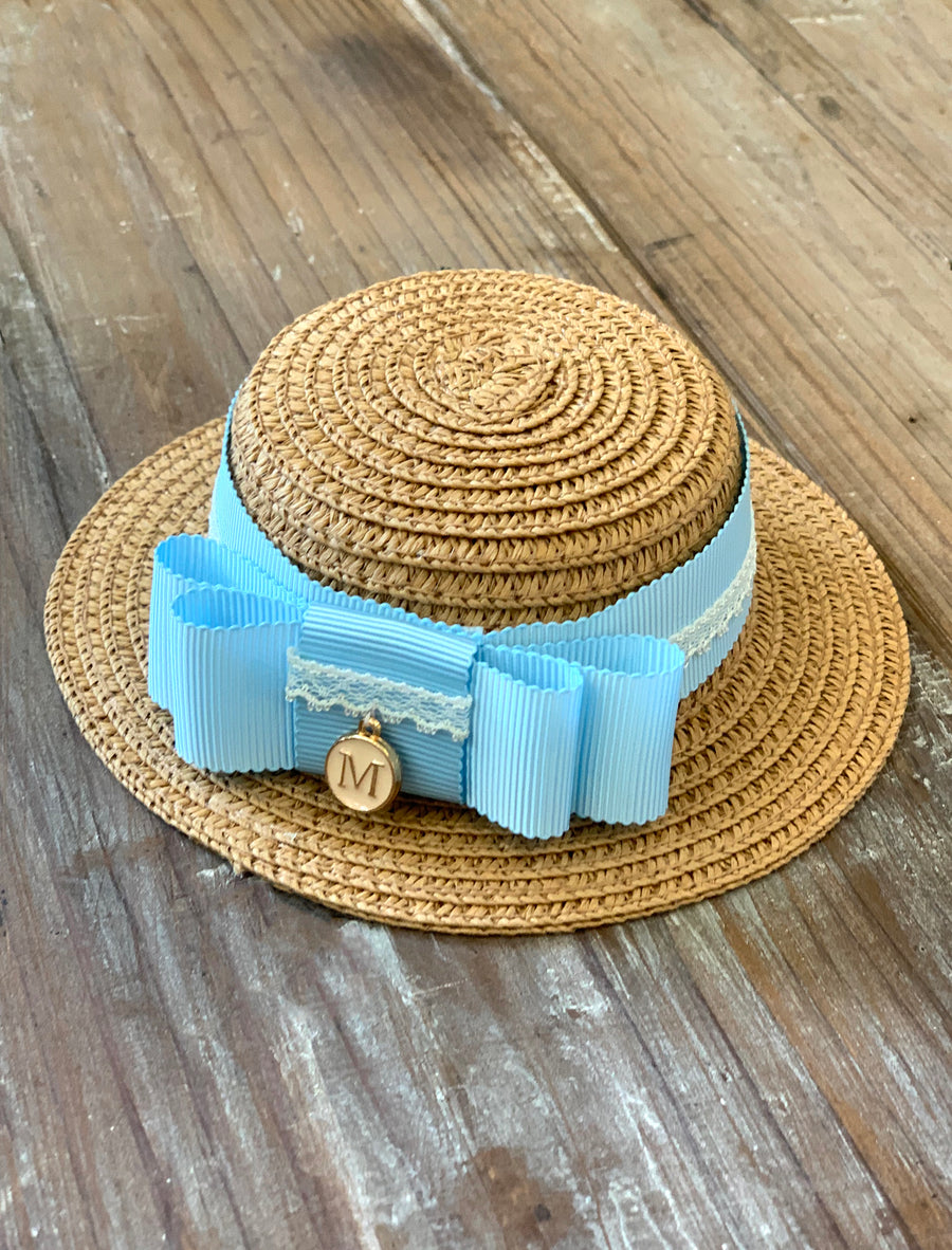 [AHT53] Handmade Straw Hat / Tan (Blue Ribbon)
