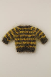 [OF176] Hand Knit Mohair Stripe Sweater (Espresso & Mimosa)