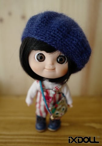 [AHT18] French Knit Artist Hat / Classic Blue