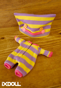 [OF221] Monster Face Pajamas w/ Yellow Purple Stripes