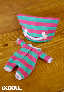 [OF222] Monster Face Pajamas w/ Green Pink Stripes