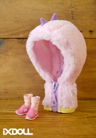 [OF228] Dinosaur Fuzzy Jumper Set (Baby Pink)
