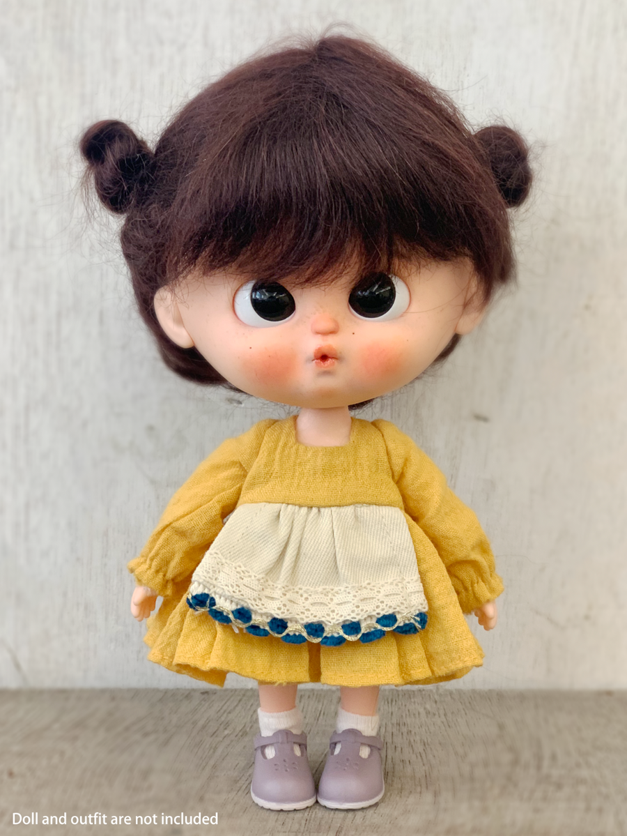 [DW48] Mohair Wig - Double Buns/ Dark Brown