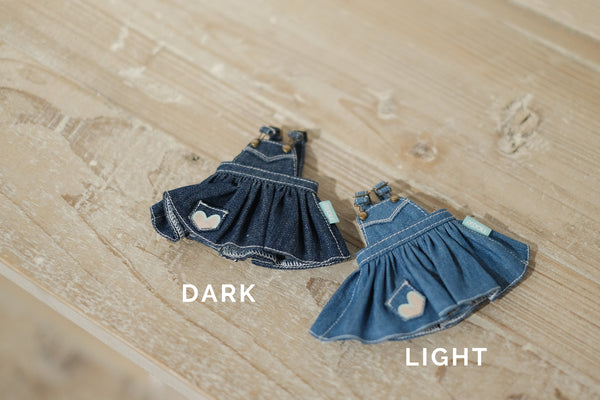 [OF299] MC Jeans Denim Overalls Skirt Unwashed (Dark)