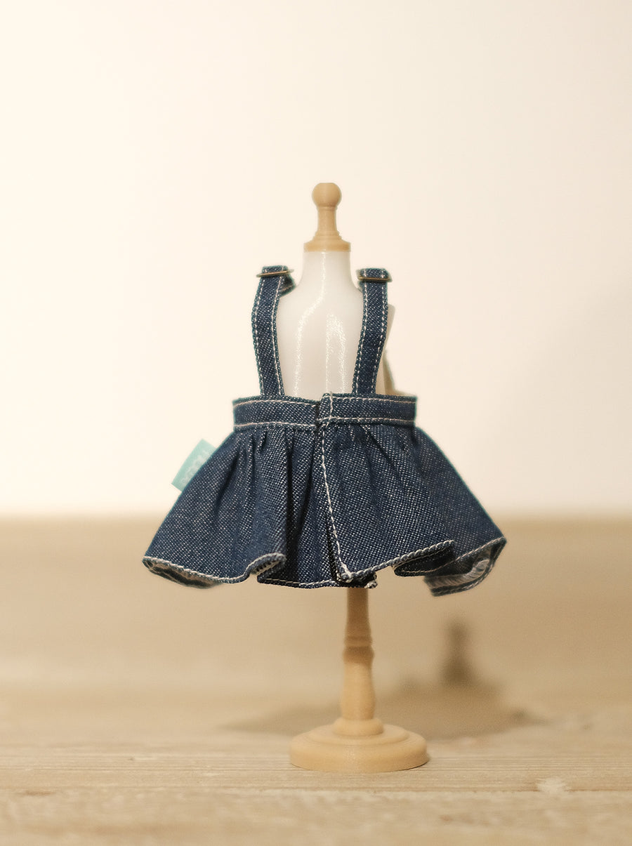[OF299] Mui-Denim Overalls Skirt Unwashed (Dark)