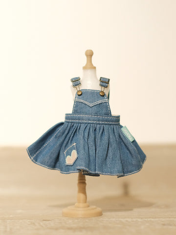 [OF298] Mui-Denim Overalls Skirt Unwashed (Light)