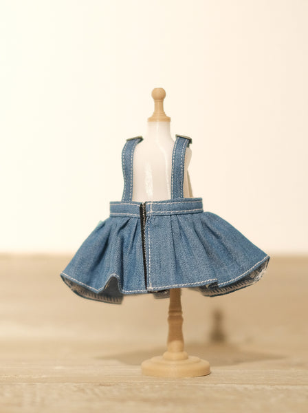 [OF298] MC Jeans Denim Overalls Skirt Unwashed (Light)