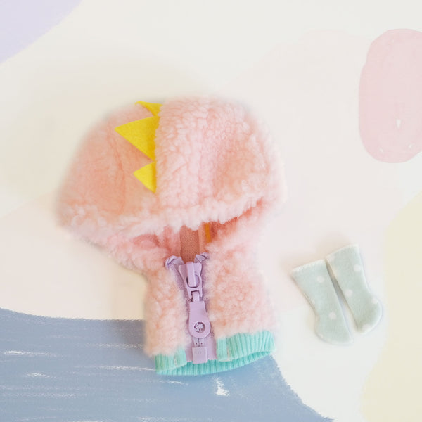 [OF360] Dinosaur Fuzzy Jumper Set (Candy)