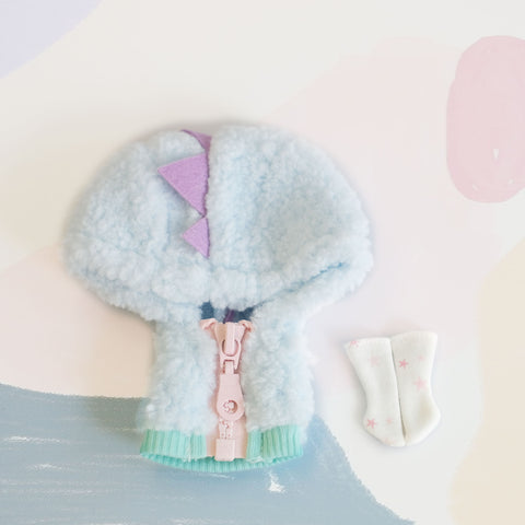 [OF362] Dinosaur Fuzzy Jumper Set (Blue)