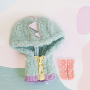 [OF361] Dinosaur Fuzzy Jumper Set (Mint)