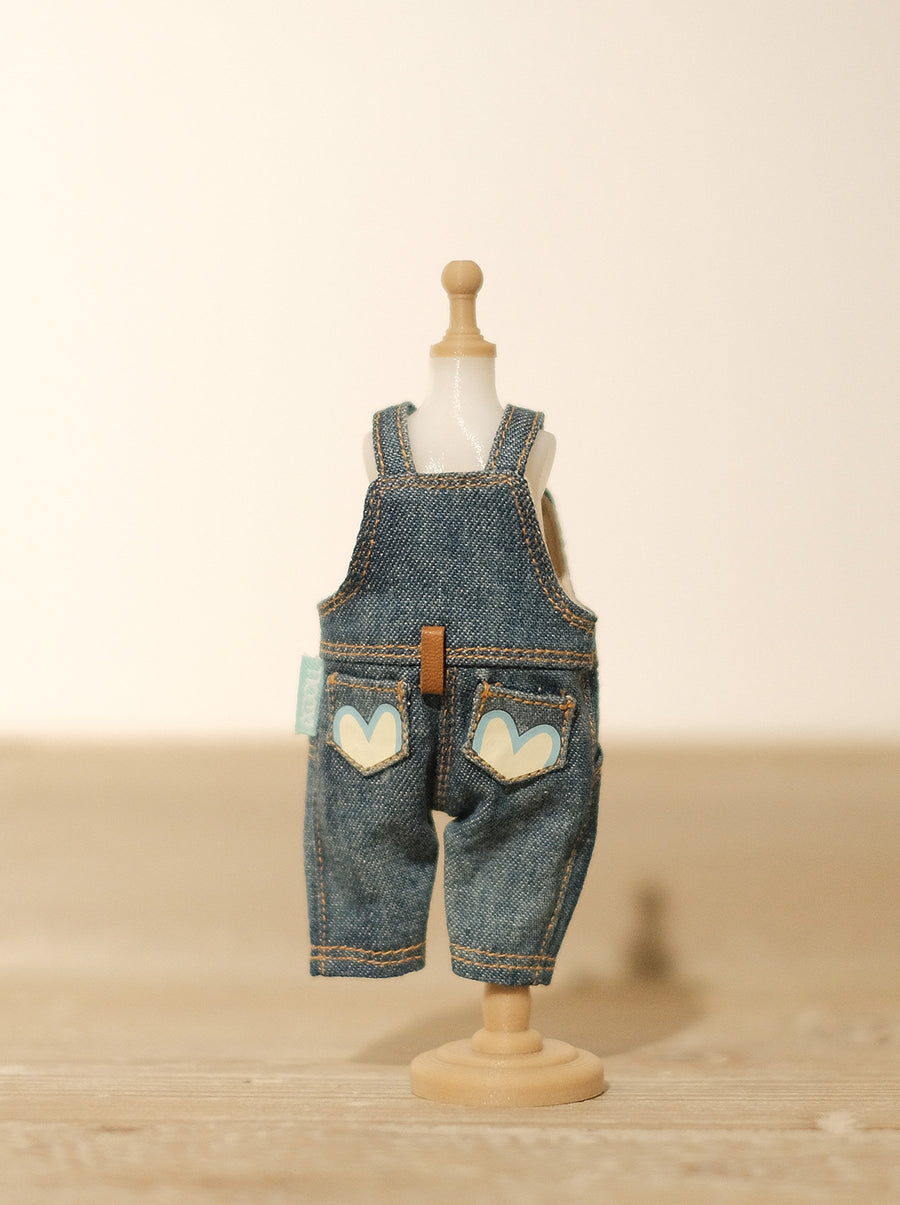 [OF290] Mui-Denim Overalls FAUX Leather (Dark)