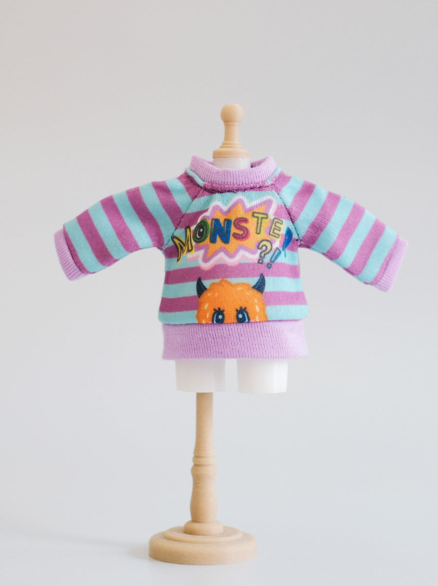 [OF357] Monster Sweater Stripe Purple