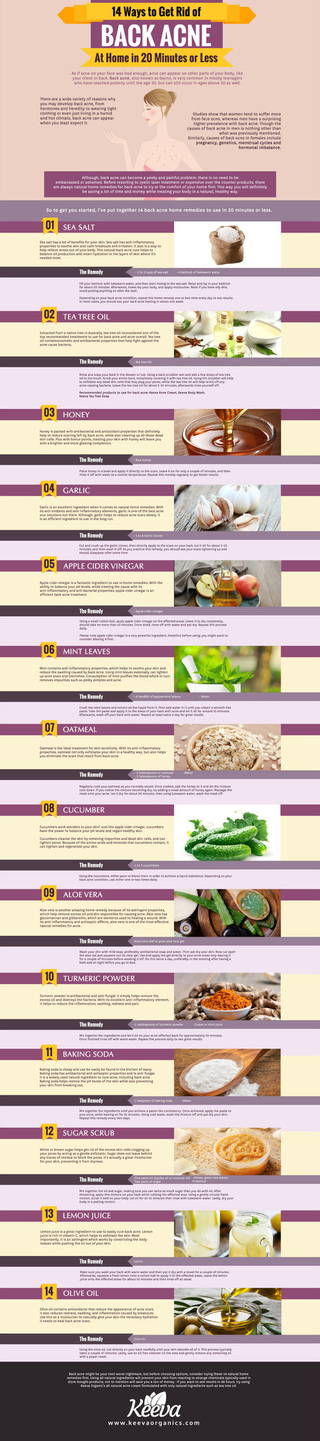 14 Ways to Get Rid of Bacne Infographic