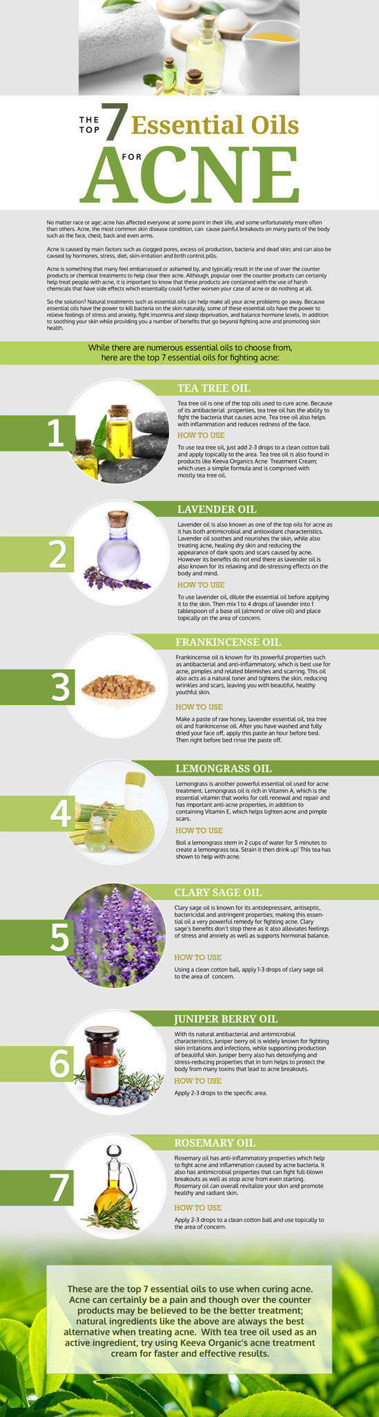 Top 7 Essential Oils for Acne Infographic