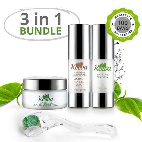 Ultimate Acne Kit (3 in 1) - Keeva's ORIGINAL Tea Tree Oil Acne Formula. Comes with Face Wash, Acne Cream, and Acne Serum!