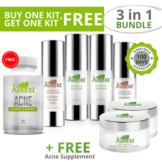 [ON SALE TODAY!]  BUY 1 GET 1 FREE! Get 2 Kits When You Order the 3 in 1 Acne Kit + FREE Nose Strips