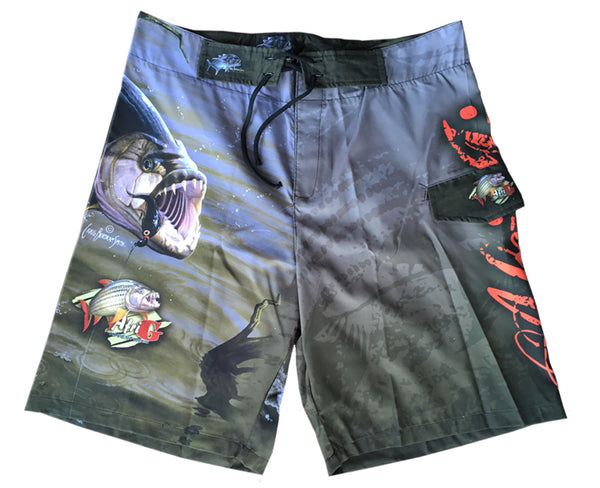 board shorts with a tigerfish on it