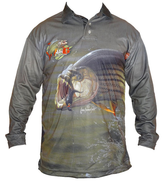 long sleeve shirt with a tigerfish image on it