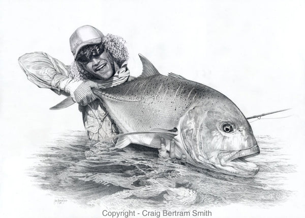 a pencil drawing of a fly fisherman holding up a large GT fish