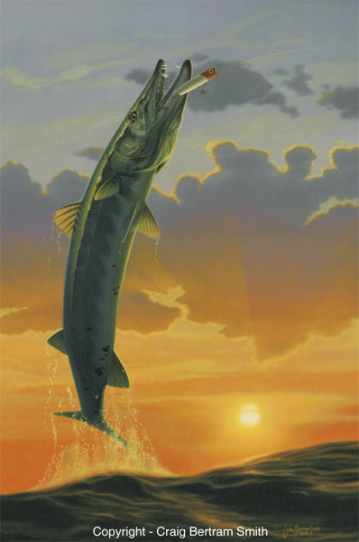 a painting of a barracuda jumping out of the water at sunset