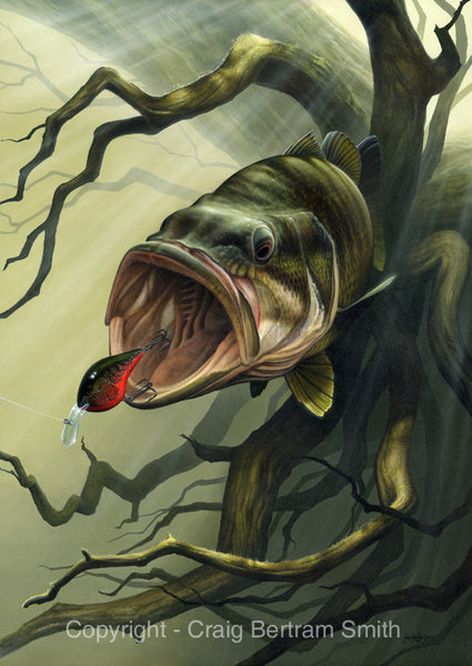 a painting of a large mouth bass chasing a crank bait with roots in the background