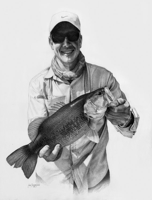 a pencil drawing of a fisherman holding up a large mouth bass