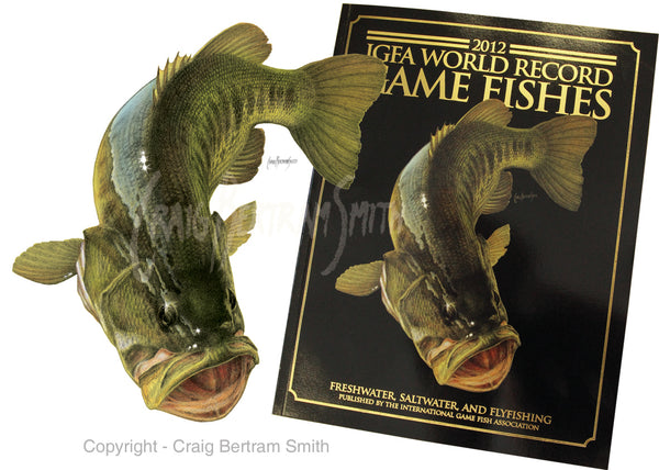 Large mouth bass illustration featured on the International Game Fishes Association (IGFA) book cover