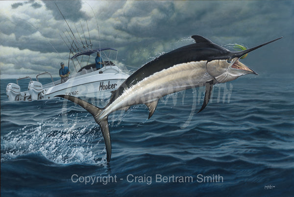 A painting of a black marlin jumping out of the water with a boat in the background