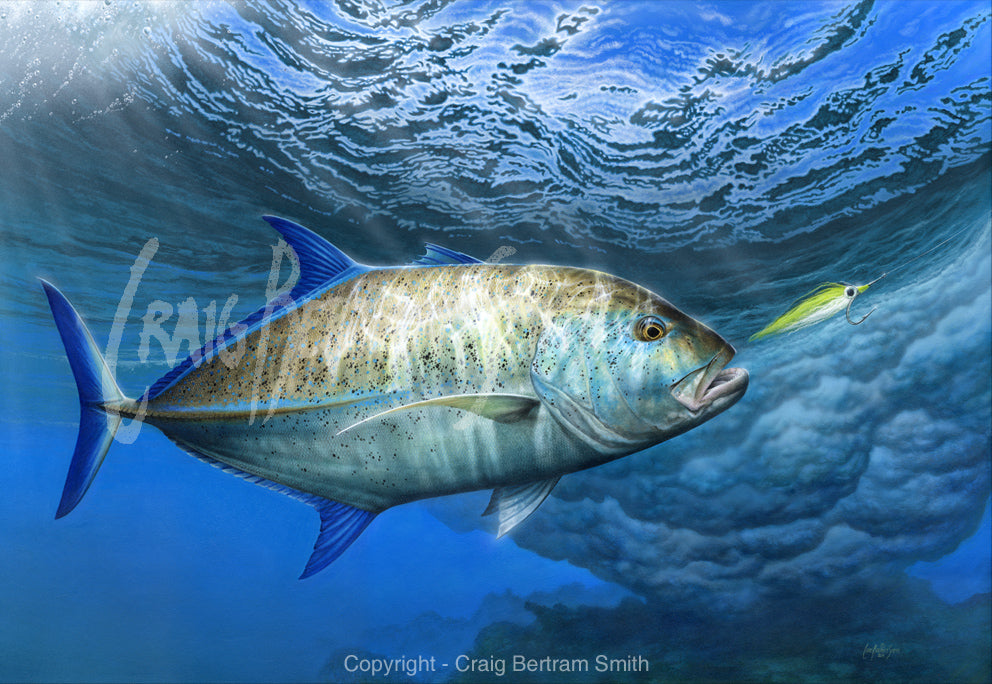 a painting of a bluefin trevally chasing a fly over a coral edge