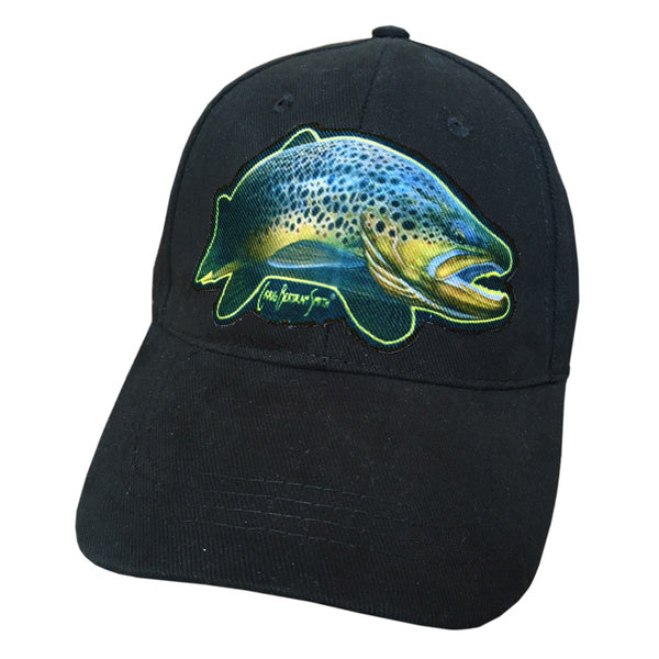 Black cap with brown trout artwork