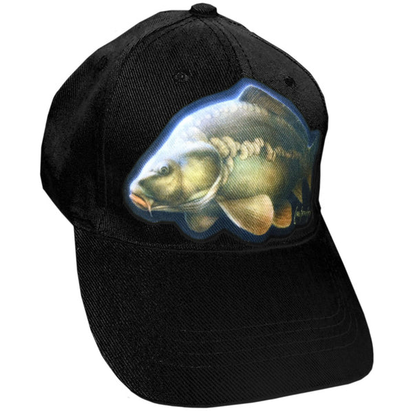 black cap with carp artwork