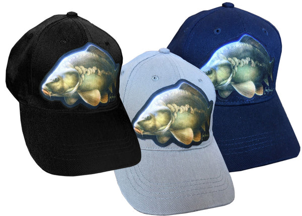 cap with carp artwork