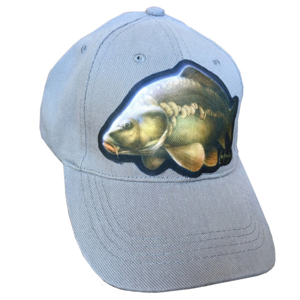 grey cap with carp artwork
