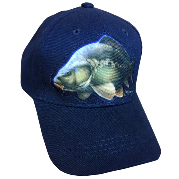 navy cap with carp artwork