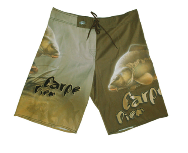 board shorts with a carp on it