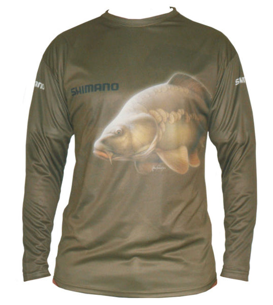 long sleeve shirt with a carp image on it