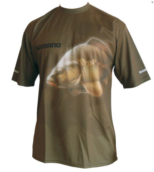 short sleeve shirt with a carp image on it