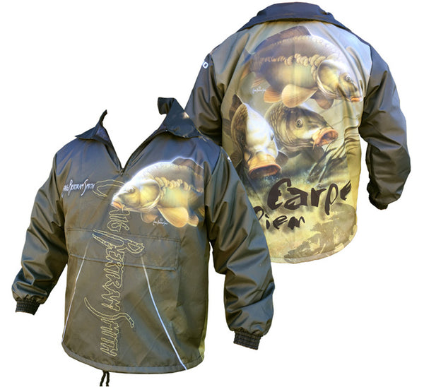 rain jacket with a carp image on it