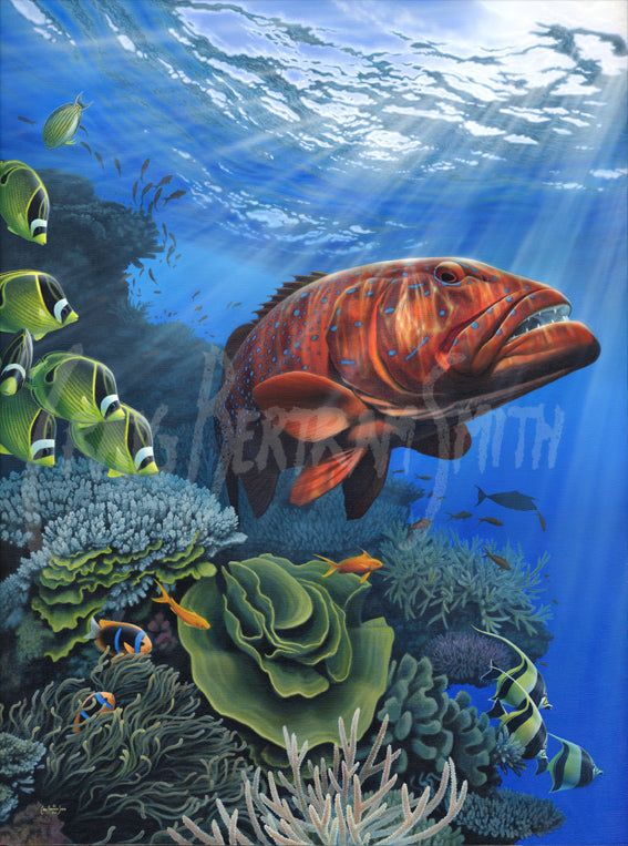 a painting of a bar cheek coral trout with a coral reef background