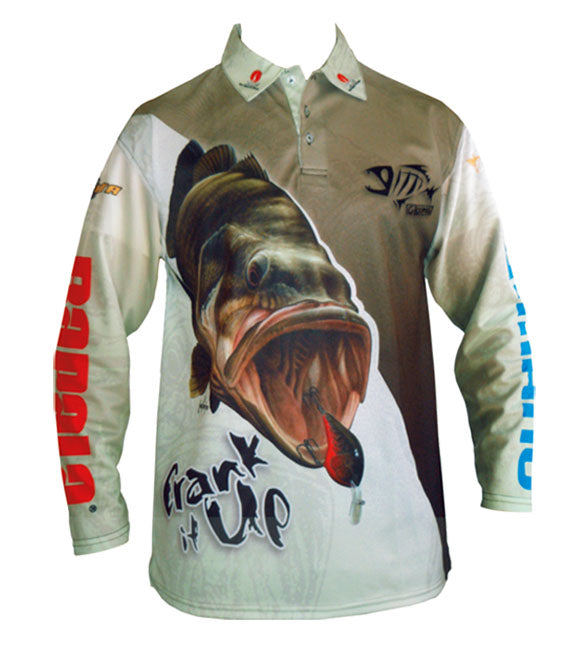 long sleeve shirt with a bass image on it